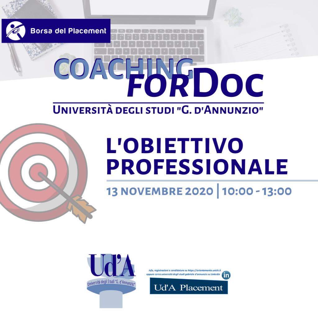 UdA   Coaching forDoc   Obiettivo professionale