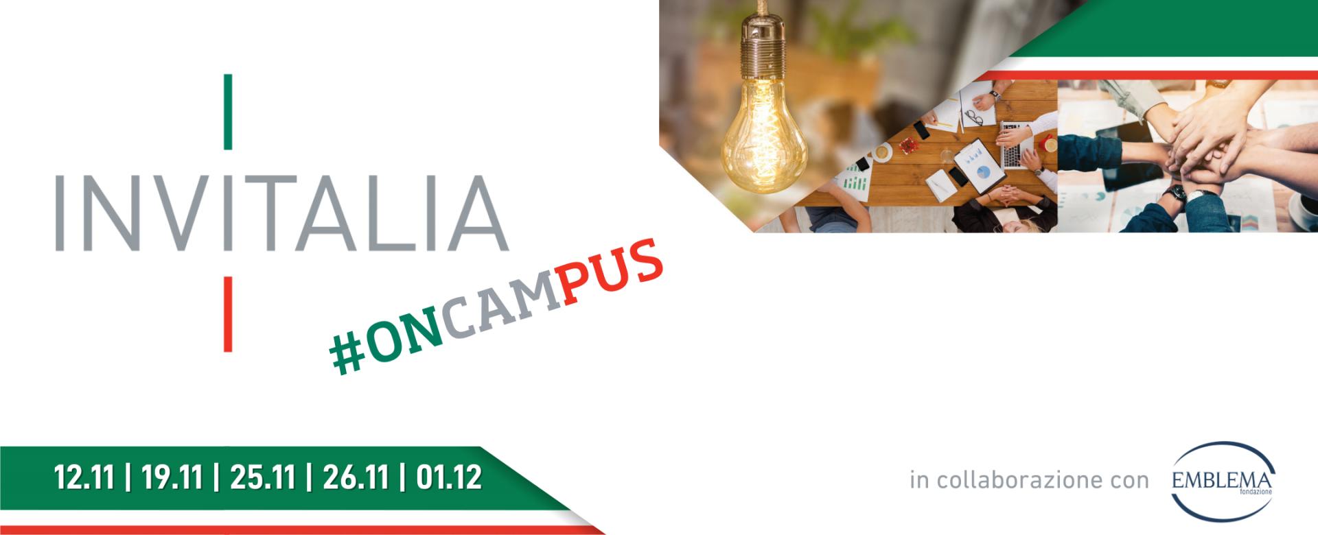22.10.2020 - Invitalia #oncampus: aperte le iscrizioni agli incontri di novembre e dicembre